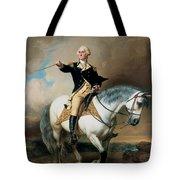 Portrait Of George Washington Taking The Salute At Trenton Tote Bag