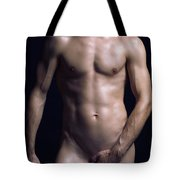 Portrait Of Man With Fit Naked Body Tote Bag