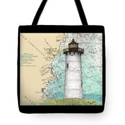 Portsmouth Harbor Lighthouse Nh Nautical Chart Map Art Tote Bag