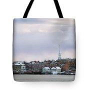 Portsmouth's Winter Skyline Tote Bag by Eric Gendron