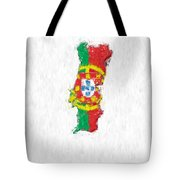 Portugal Painted Flag Map Tote Bag