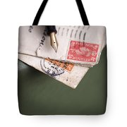 Post Cards And Fountain Pen Tote Bag