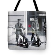 Postal Workers On Scooters Tote Bag
