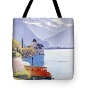 Poster Advertising Rail Travel Around Lake Geneva Tote Bag