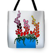 Potted Blooms - Blue Tote Bag