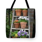 Potted Flower On Ladder Tote Bag