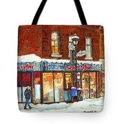 Poutine Lafleur Rue Wellington Verdun Art Montreal Paintings Cold Winter Walk City Shops Cspandau   Tote Bag