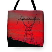 Power Lines Just After Sunset Tote Bag