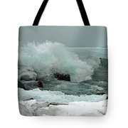Powerful Winter Surf Tote Bag