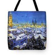 Prague After Snow Fall Tote Bag