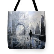 Prague Charles Bridge Morning Walk Tote Bag