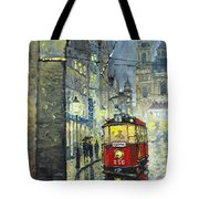 Praha Red Tram Mostecka Str  Tote Bag by Yuriy  Shevchuk