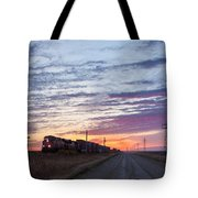 Prairie Sunrise With Train Tote Bag