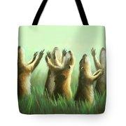 Praising Prairie Dogs Tote Bag by Anthony Falbo