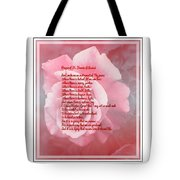 Prayer Of St. Francis And Pink Rose 2 Tote Bag