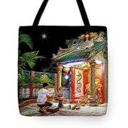 Praying At The Shrine. Tote Bag