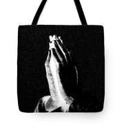 Praying Hands Black And White Glow Tote Bag