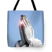 Praying Hands Lens Flare Tote Bag