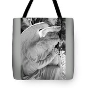 Praying Male Angel Near Infrared Black And White Tote Bag