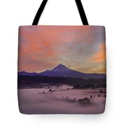 Pre Sunrise Over Mount Hood Panorama Tote Bag