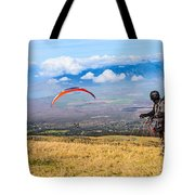 Preparing For Take Off - Paragliders Taking Off High Over Maui. Tote Bag