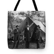 President Lincoln At Antietam Tote Bag