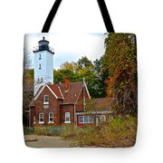 Presque Isle Lighthouse Tote Bag by Frozen in Time Fine Art Photography