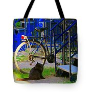 Pretty Cat In Verdun Taking The Sun Blue Picket Fence And Bike Montreal Garden Scene Carole Spandau  Tote Bag