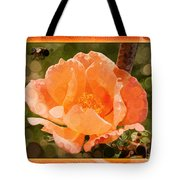 Pretty Peachy Rose Abstract Flower Tote Bag