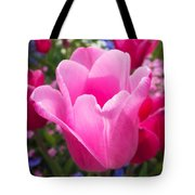 Pretty Pink Tulip And Field With Flowers And Tulips Tote Bag