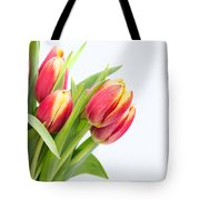 Pretty Red And Yellow Tulips On White Background Tote Bag