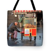 Pretzel Seller With Pushcart Istanbul Turkey Tote Bag