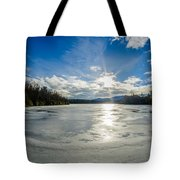 Price Lake Frozen Over During Winter Months In North Carolina Tote Bag