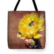 Prickly Pear And Bee Tote Bag
