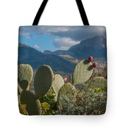 Prickly Pear Cactus And Mountains Tote Bag