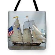 Pride Of Baltimore II Passing By Fort Mchenry Tote Bag