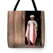 Priest At Ancient Rock Hewn Churches Of Lalibela Ethiopia Tote Bag