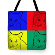 Primary And Green Cats Tote Bag