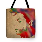 Prince Watercolor Portrait On Worn Distressed Canvas Tote Bag