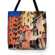 promenade and homes in Camogli Tote Bag