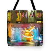 Prometheus Sculpture In Rockefeller Center  Tote Bag