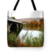 Prosser Bridge And Fall Colors On The River Tote Bag
