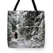 Protective Forest In Winter With Snow Covered Conifer Trees Tote Bag