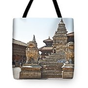 Protector Sculptures Near The Boundary Of Bhaktapur Durbar Square In Bhaktapur-nepal Tote Bag