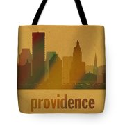 Providence Rhode Island City Skyline Watercolor On Parchment Tote Bag