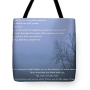Psalm 23 Foggy Morning Tote Bag