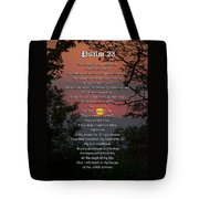 Psalm 23 Prayer Over Sunset Landscape Tote Bag by Christina Rollo