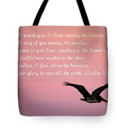 Psalm With Pelican And Pink Sky Tote Bag