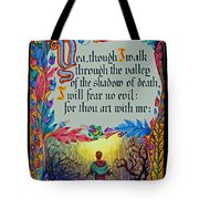 Psalms 23-4a Tote Bag