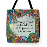 Psalms 23-5a Tote Bag